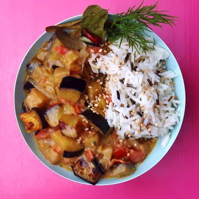 vegan aubergine curry rolling tiger 1